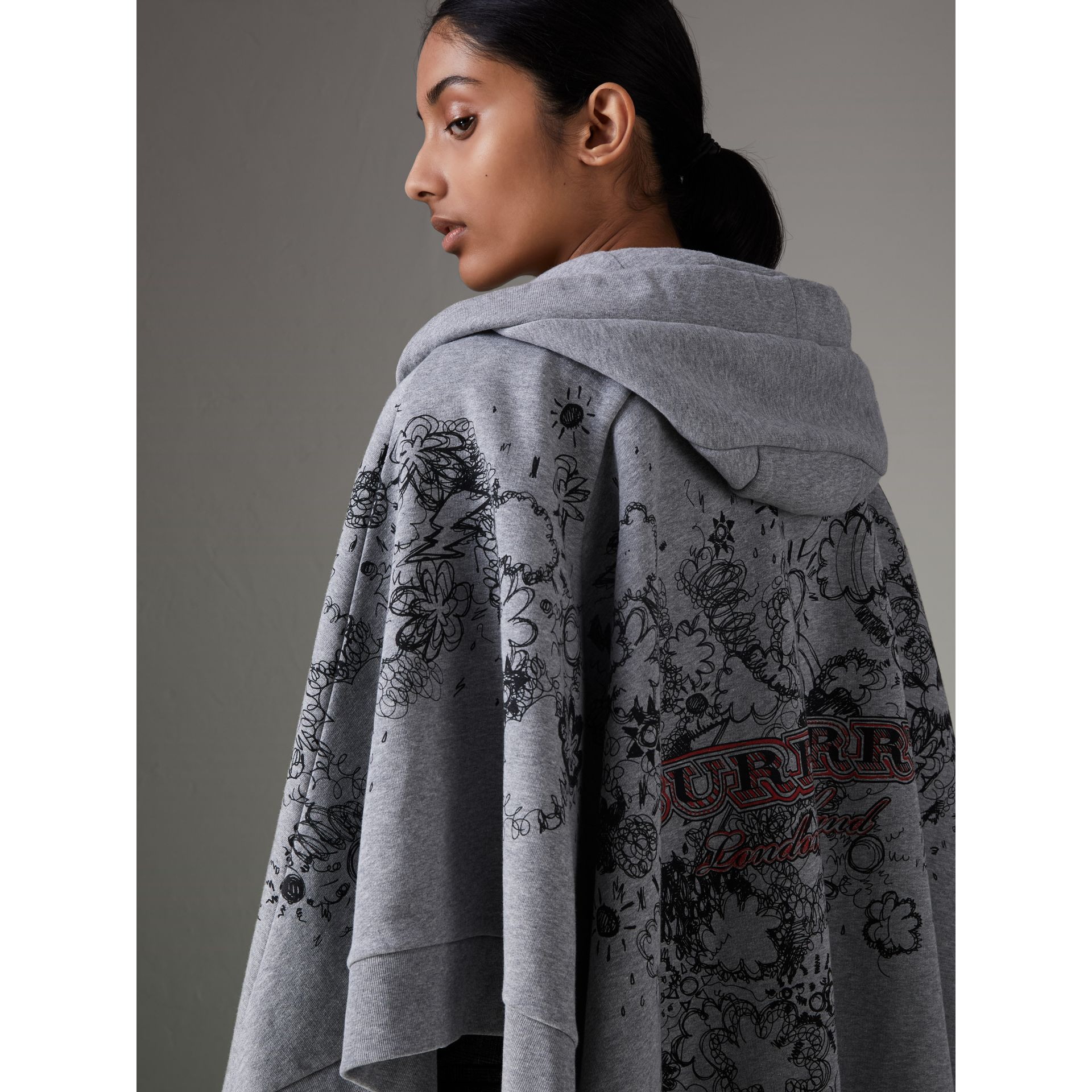Doodle Print Jersey Hooded Cape in Pale Grey Melange - Women | Burberry - gallery image 1