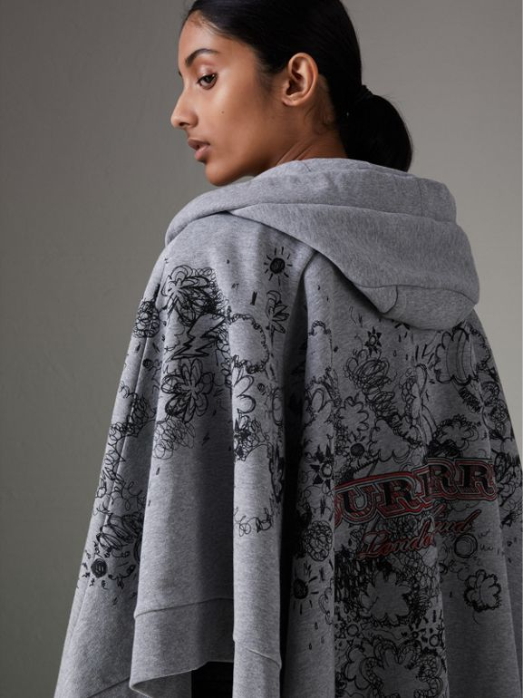 Doodle Print Jersey Hooded Cape in Pale Grey Melange - Women | Burberry - cell image 1