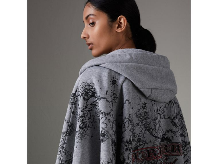 Doodle Print Jersey Hooded Cape in Pale Grey Melange - Women | Burberry Australia - cell image 1
