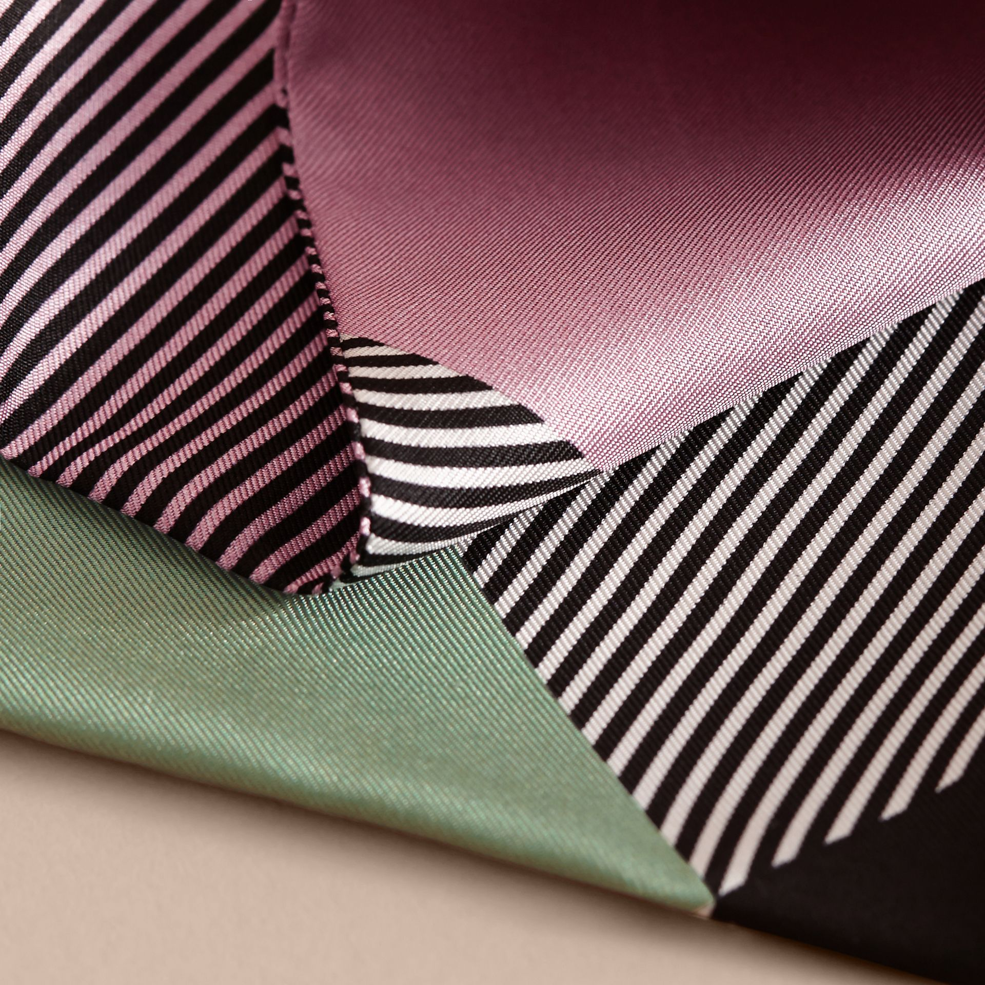 Colour Block and Striped Silk Slim Scarf in Pale Lilac - Women | Burberry - gallery image 2
