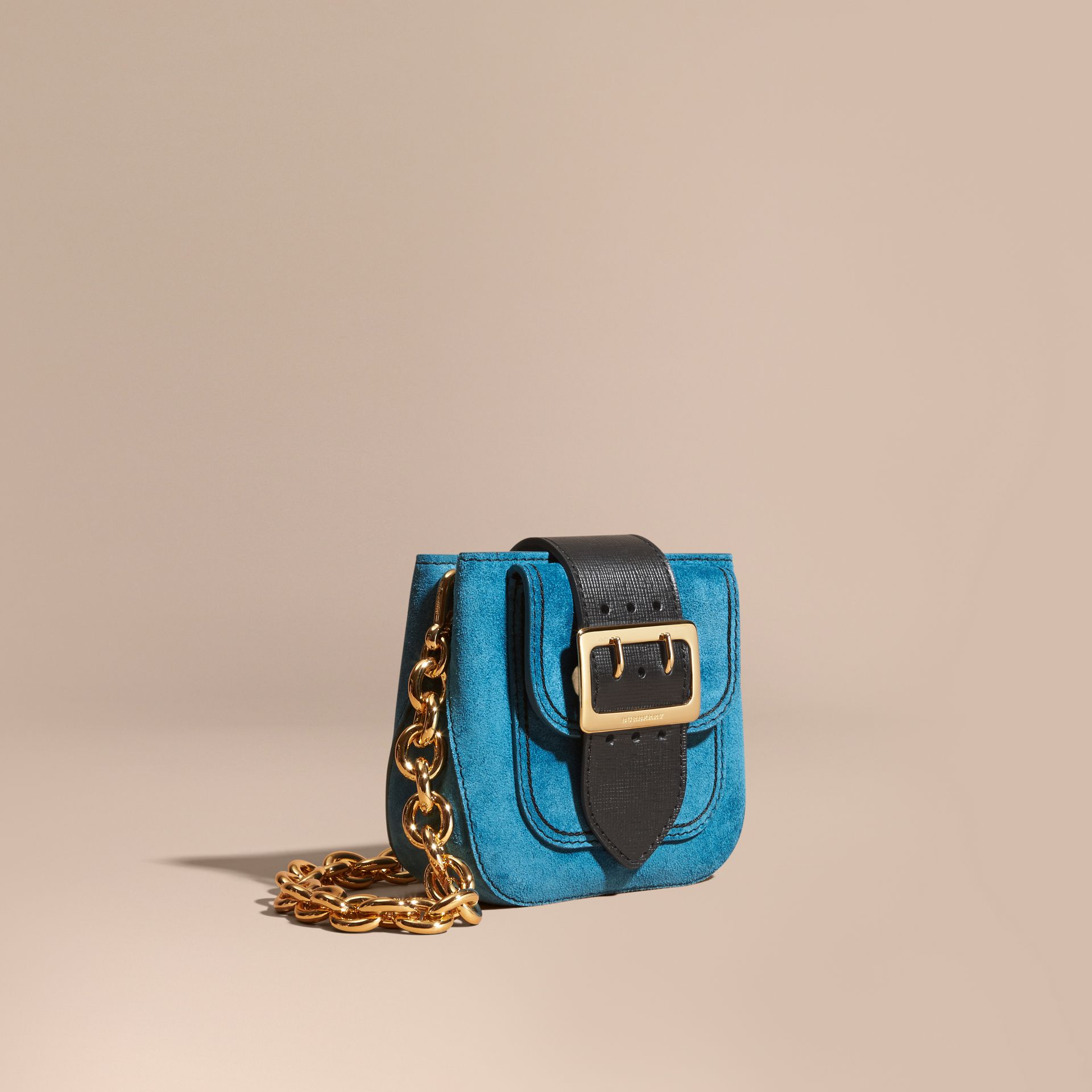 Peacock blue The Small Square Buckle Bag in Suede and Leather Peacock Blue - gallery image 1