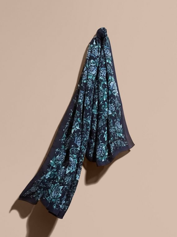 Peony Rose Print Silk Scarf in Ink - Women | Burberry
