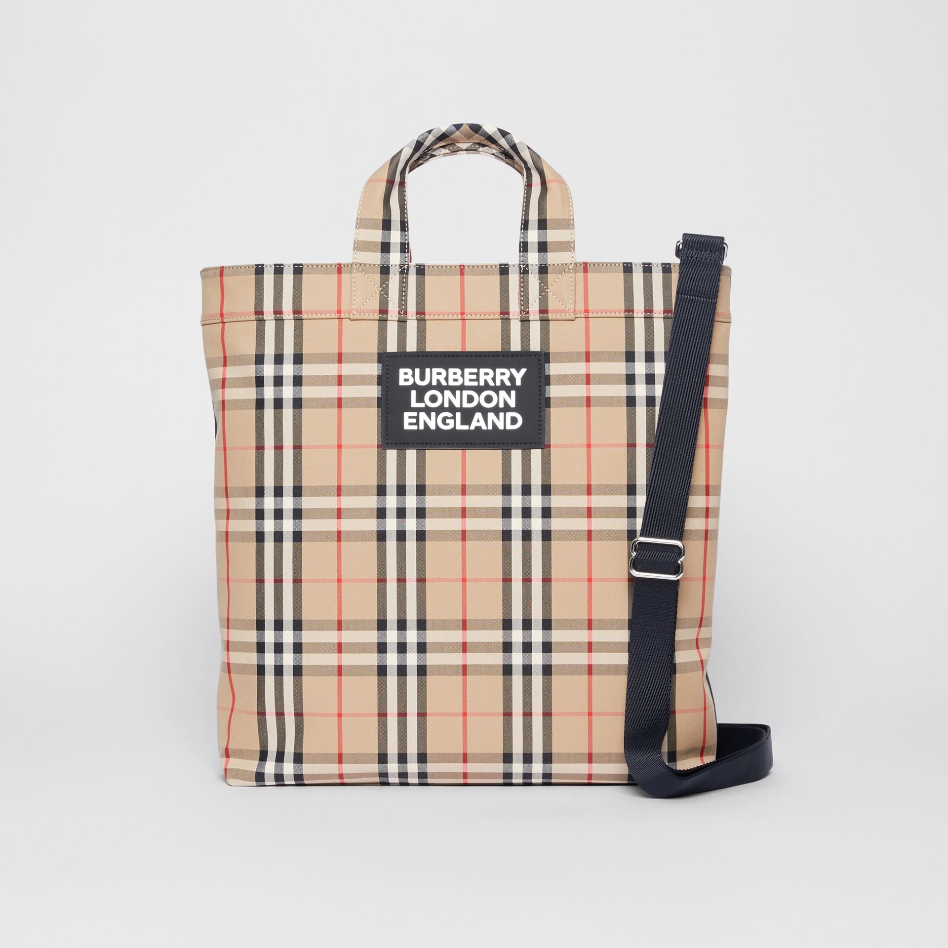 Logo Appliqué Vintage Check Cotton Blend Tote in Archive Beige - Men | Burberry Canada - gallery image 0