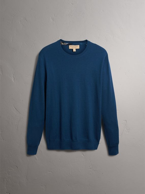 Check Jacquard Detail Cashmere Sweater in Dark Teal - Men | Burberry - cell image 3