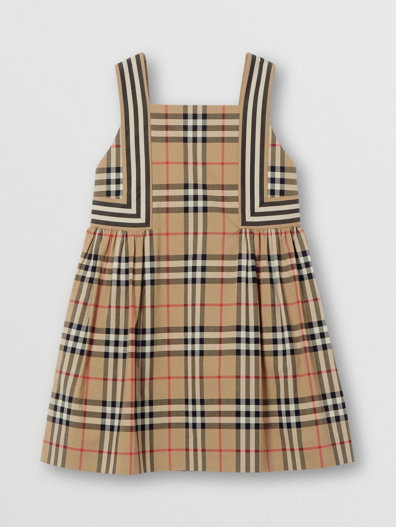 Vintage Check Cotton Dress in Archive Beige