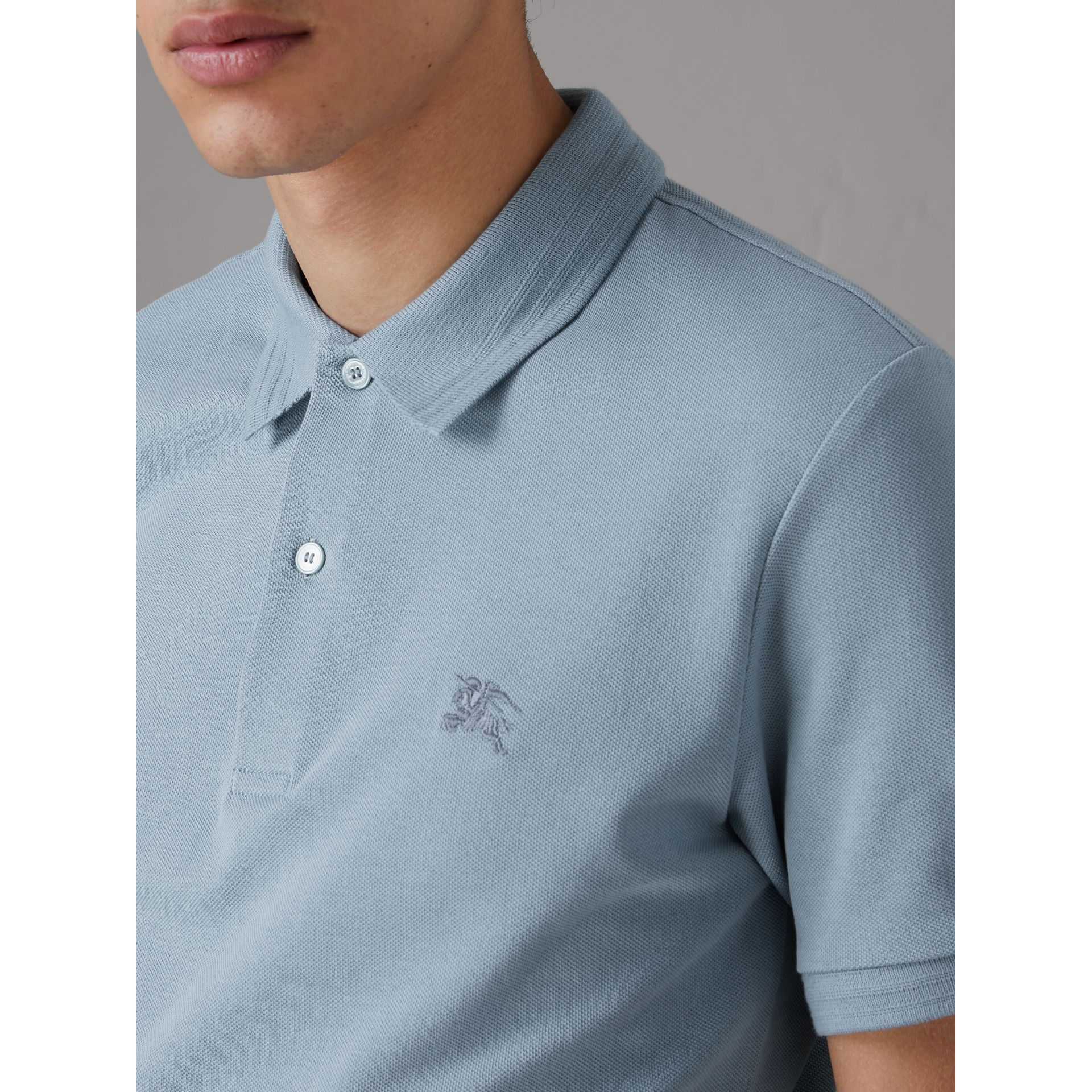 Print Trim Cotton Piqué Polo Shirt in Dusty Teal Blue - Men | Burberry - gallery image 1