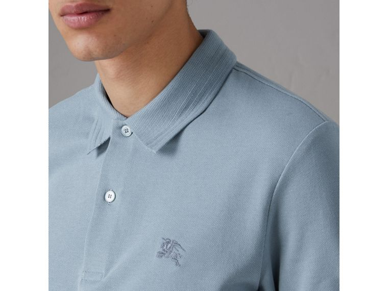 Daisy Print Trim Cotton Piqué Polo Shirt in Dusty Teal Blue - Men | Burberry - cell image 1