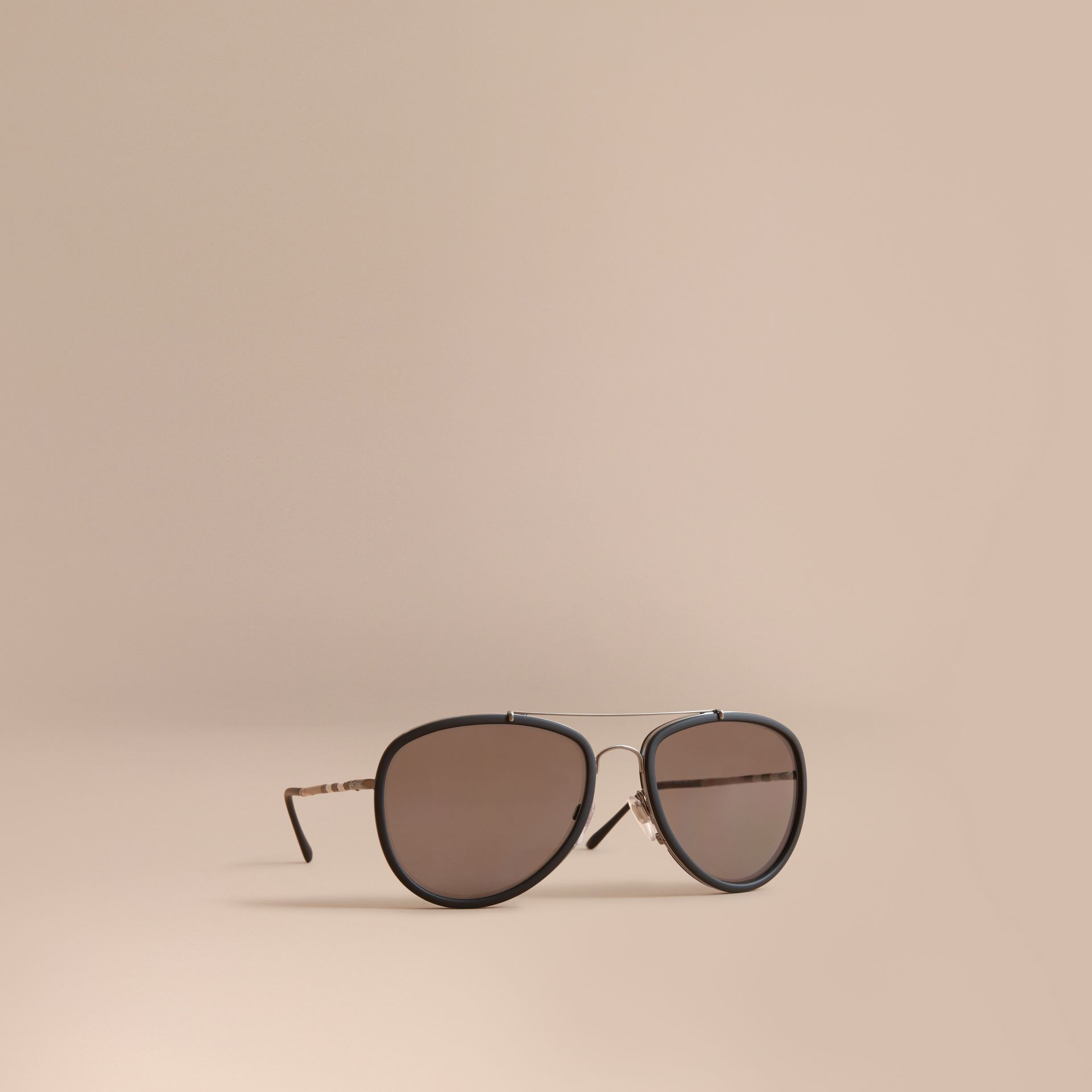 Check Detail Pilot Sunglasses in Black - Men | Burberry United Kingdom - gallery image 0