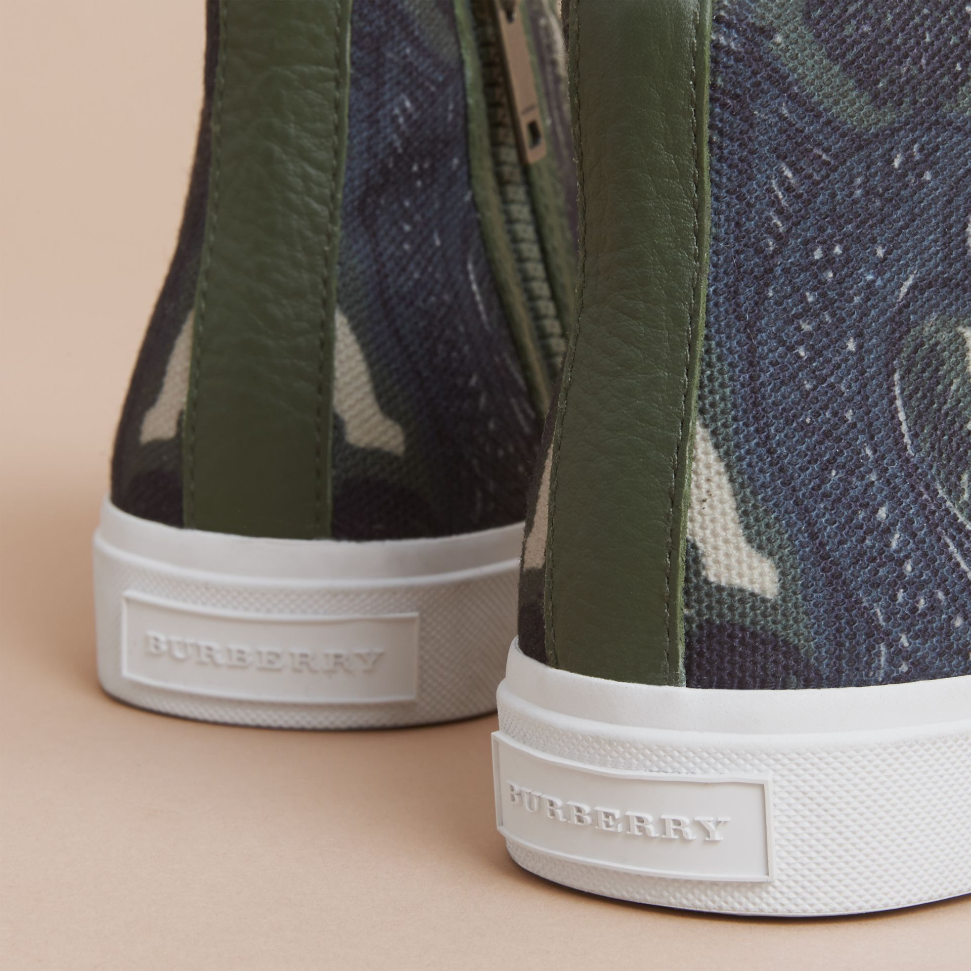 Beasts Print Cotton and Leather High-top Trainers in Clay Green | Burberry Singapore - gallery image 4