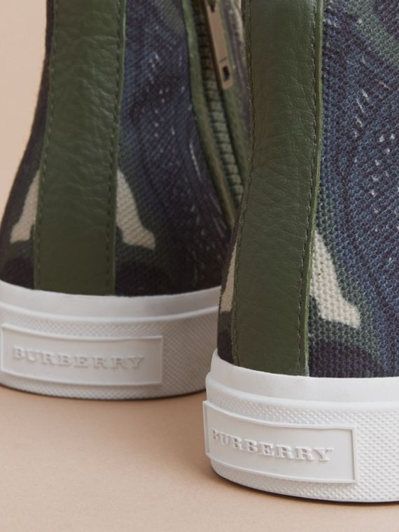 Beasts Print Cotton and Leather High-top Trainers in Clay Green | Burberry Singapore - cell image 3