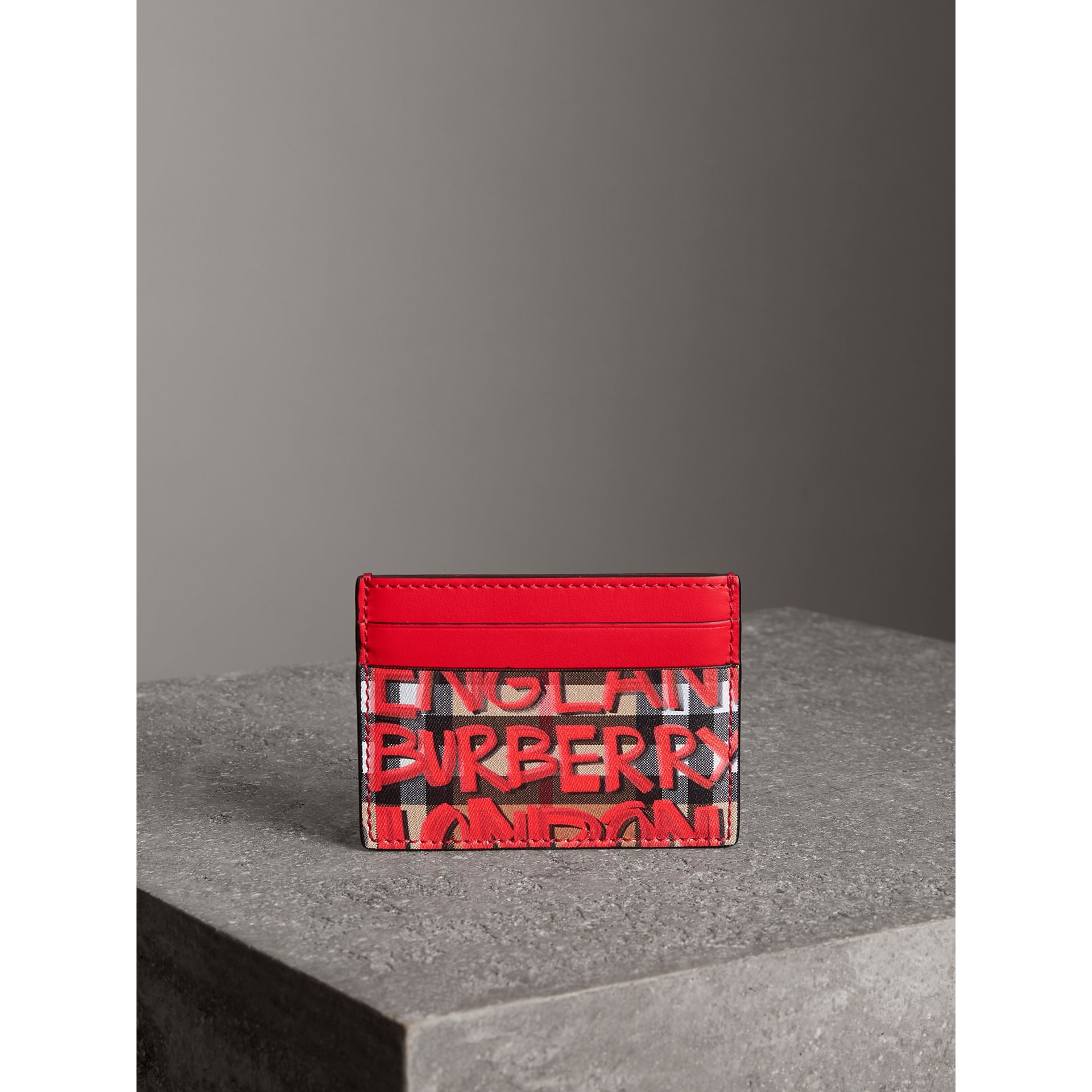 Graffiti Print Vintage Check Leather Card Case in Red | Burberry - gallery image 4