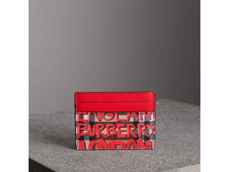 Graffiti Print Vintage Check Leather Card Case in Red | Burberry - cell image 4