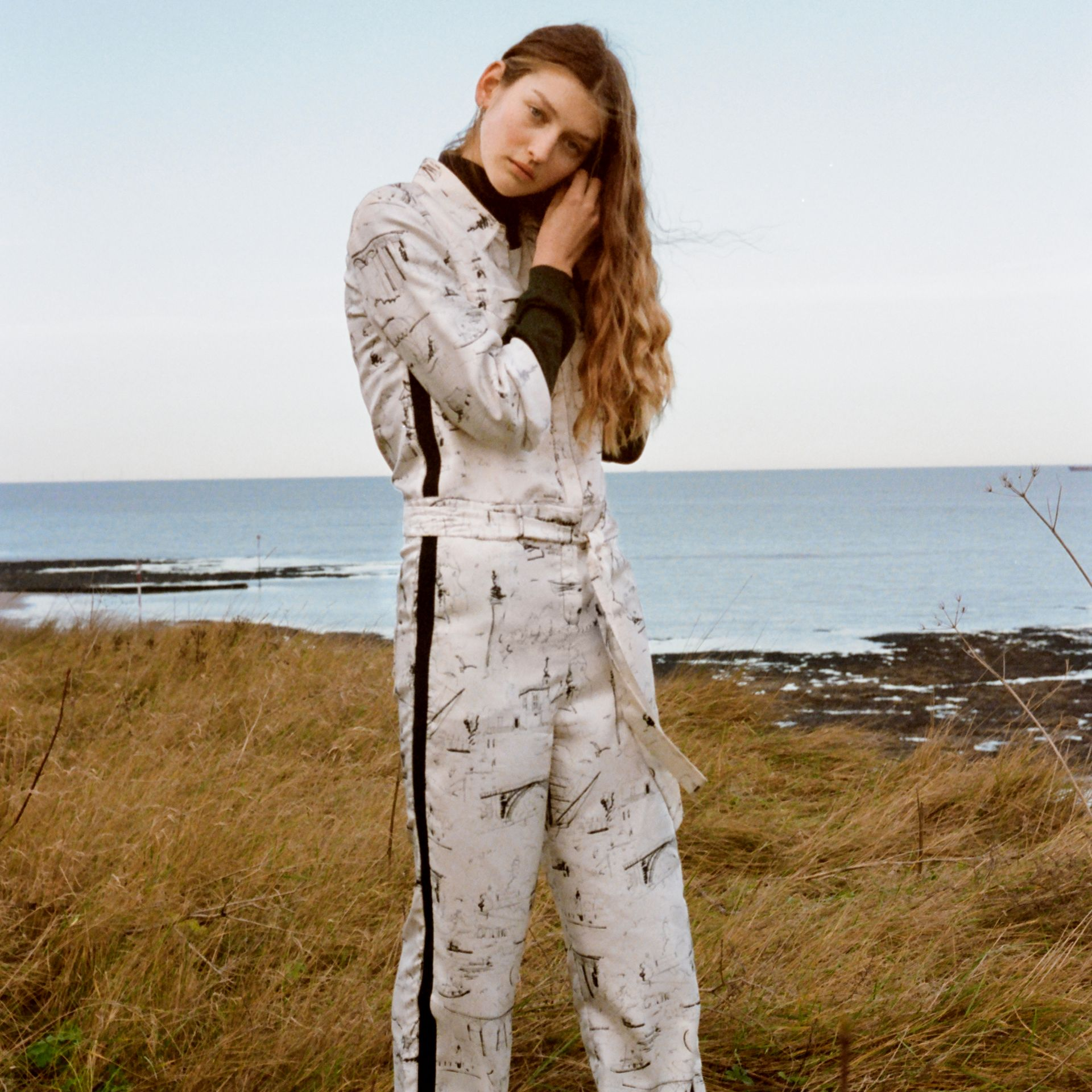 Landmark Print Silk Jumpsuit in Off White/black - Women | Burberry - gallery image 5