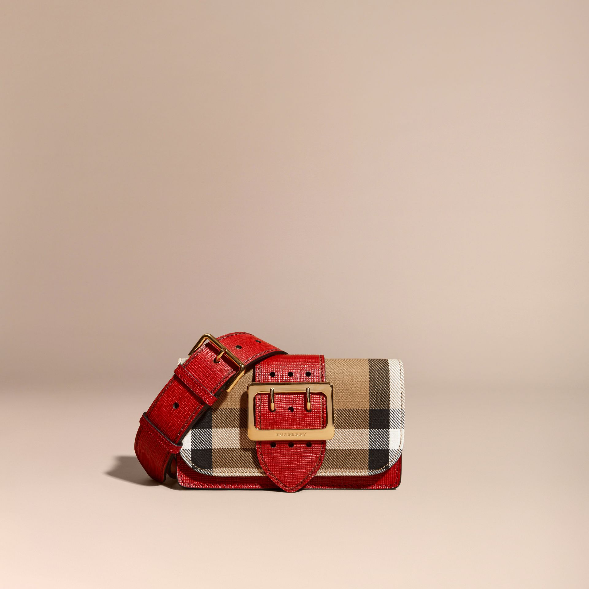 The Small Buckle Bag in House Check and Leather in Military Red/military Red - gallery image 9