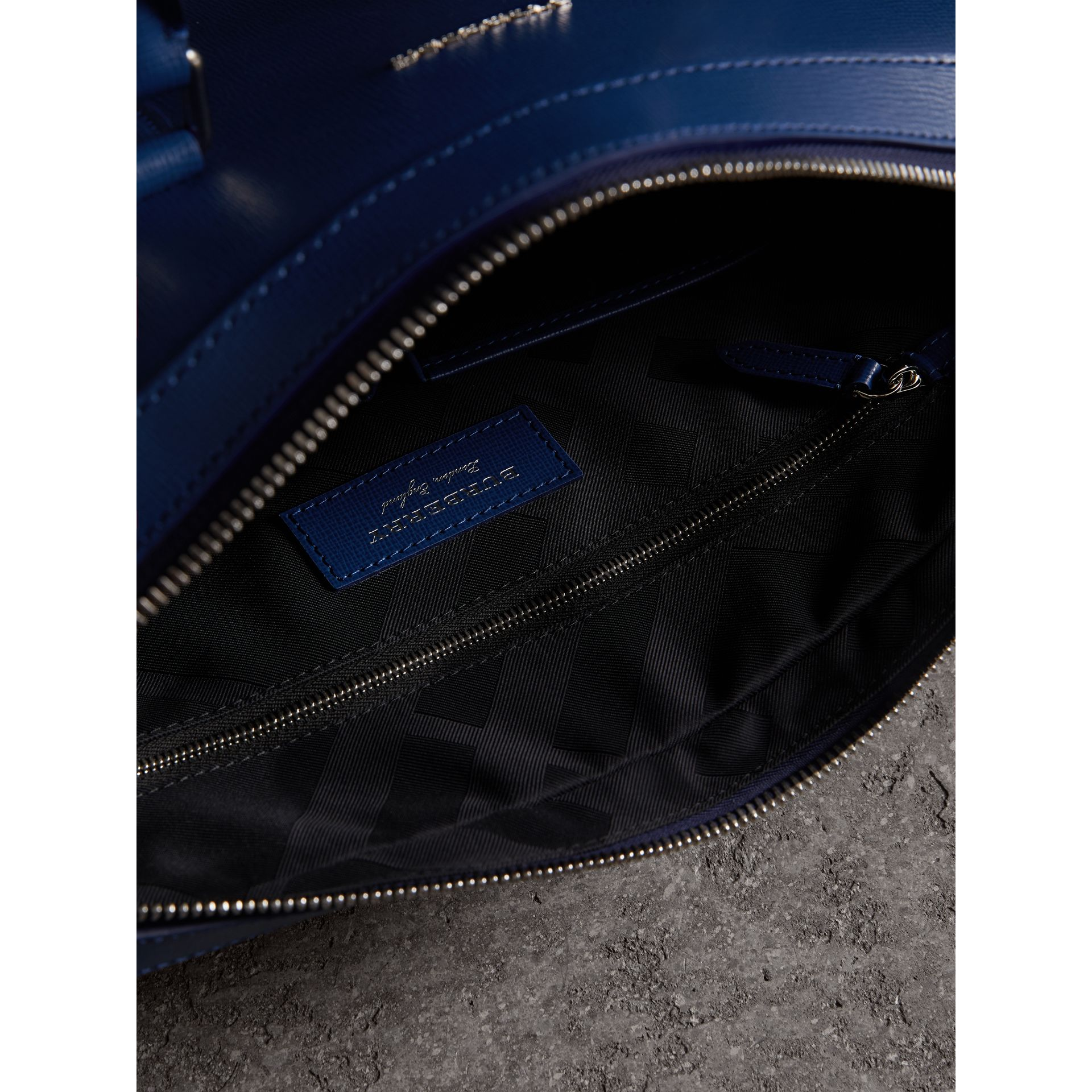 London Leather Briefcase in Deep Blue - Men | Burberry - gallery image 8