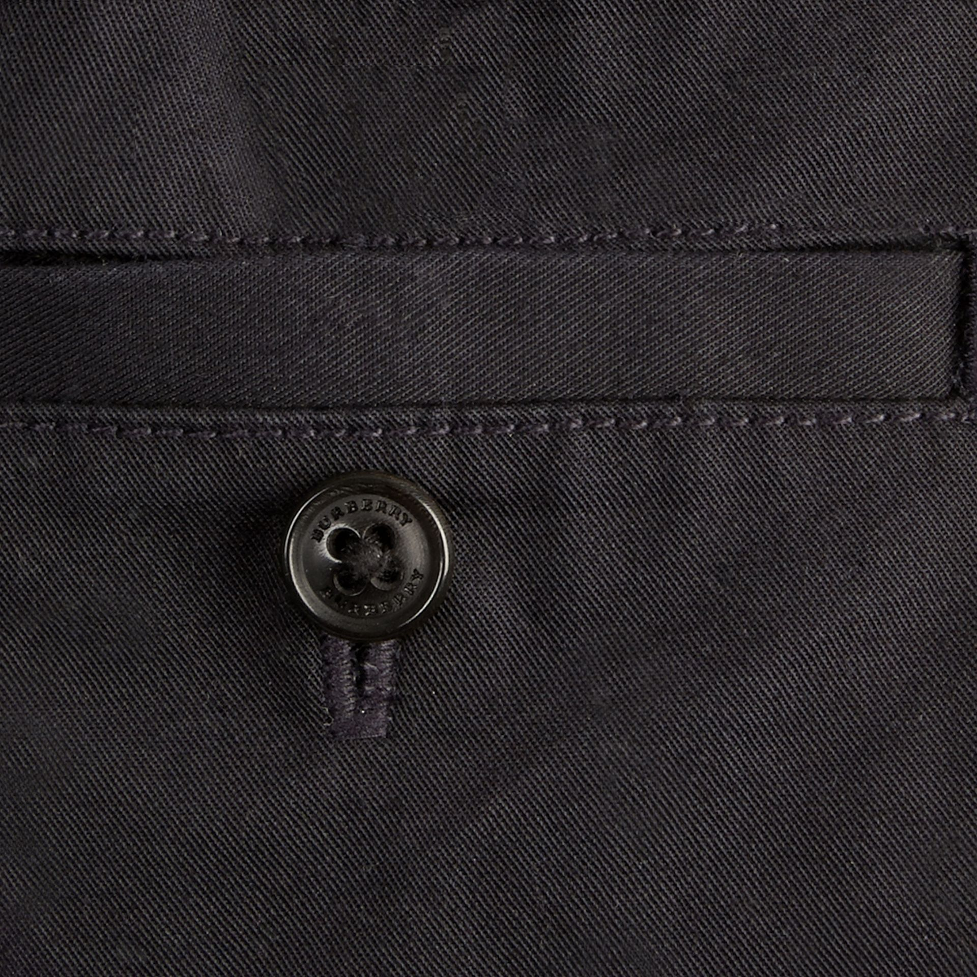 Check Detail Cotton Chino Shorts in Ink | Burberry Canada - gallery image 2