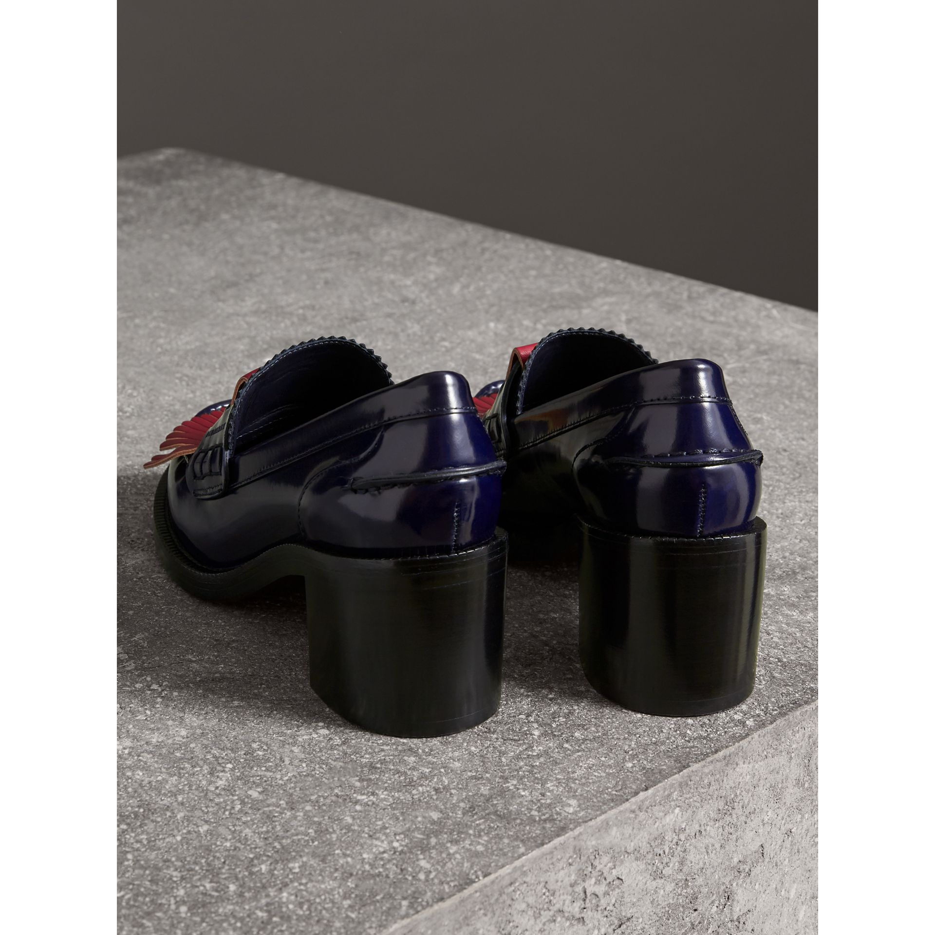 Contrast Kiltie Fringe Leather Block-heel Loafers in Navy - Women | Burberry Canada - gallery image 2