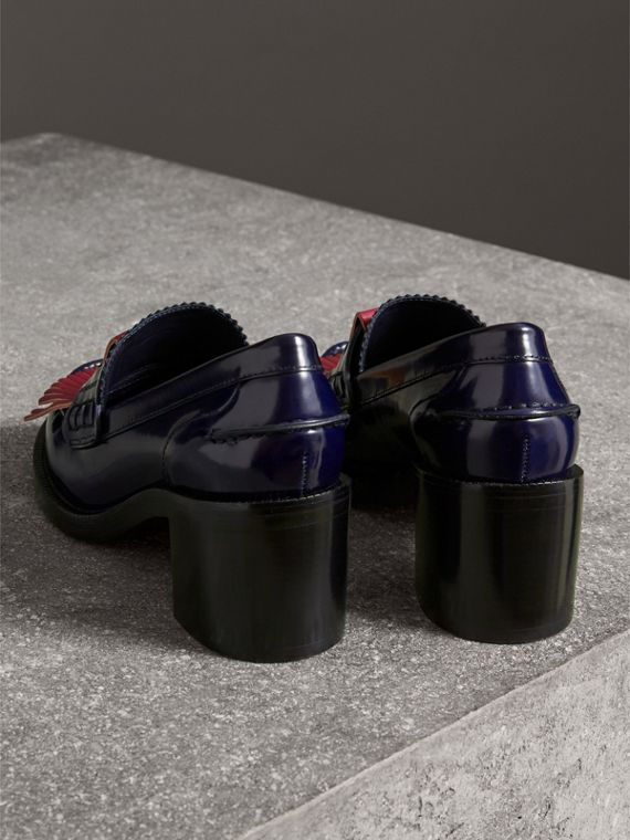 Contrast Kiltie Fringe Leather Block-heel Loafers in Navy - Women | Burberry - cell image 2
