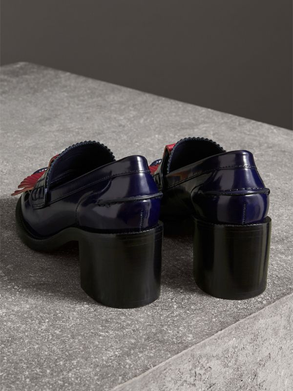 Contrast Kiltie Fringe Leather Block-heel Loafers in Navy - Women | Burberry - cell image 3
