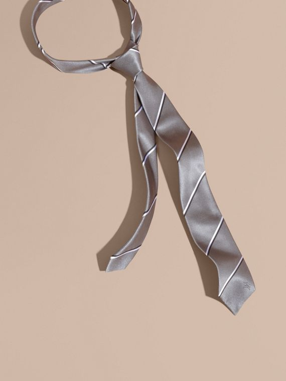 Slim Fit Striped Silk Tie in Charcoal