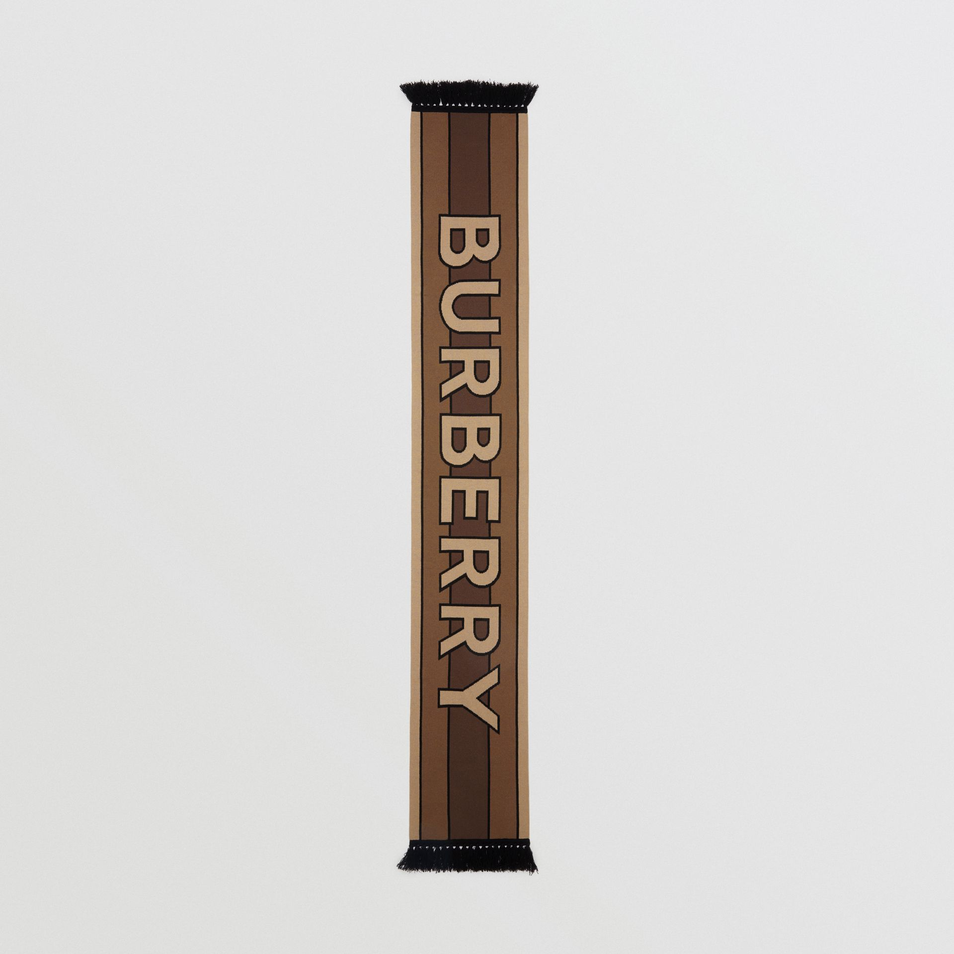 Logo Cashmere Jacquard Scarf in Bridle Brown | Burberry - gallery image 3