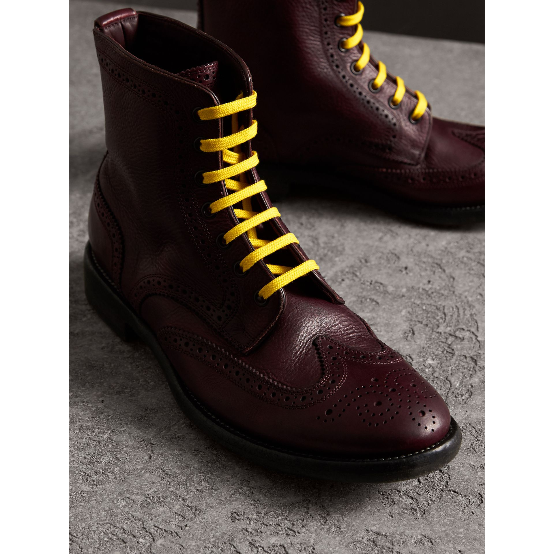 Leather Brogue Boots with Bright Laces in Cerise Purple - Men | Burberry Australia - gallery image 4