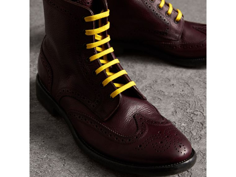 Leather Brogue Boots with Bright Laces in Cerise Purple - Men | Burberry - cell image 4