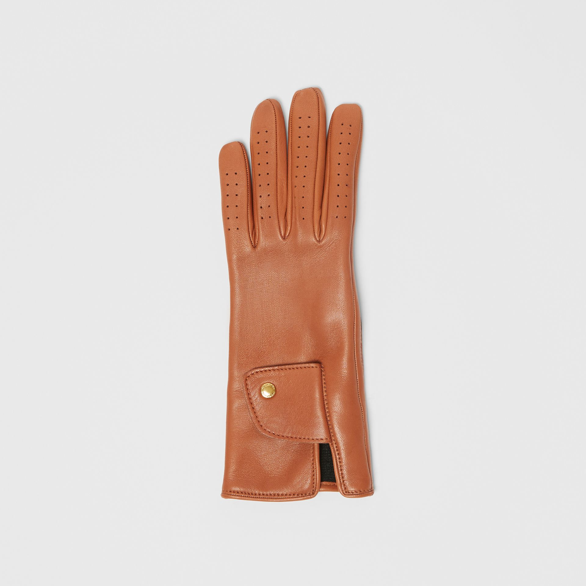 Cashmere-lined Lambskin Gloves in Tan | Burberry - gallery image 2