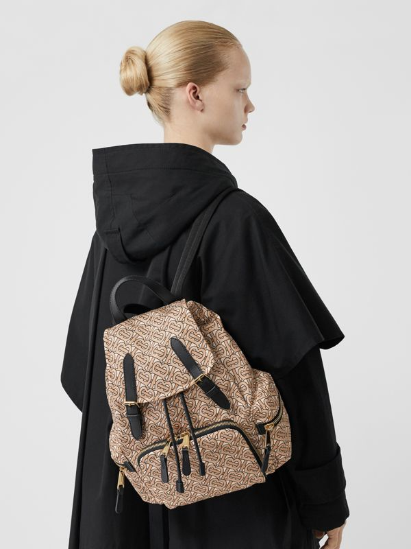 The Medium Rucksack in Monogram Print Nylon in Beige - Women | Burberry Australia - cell image 2