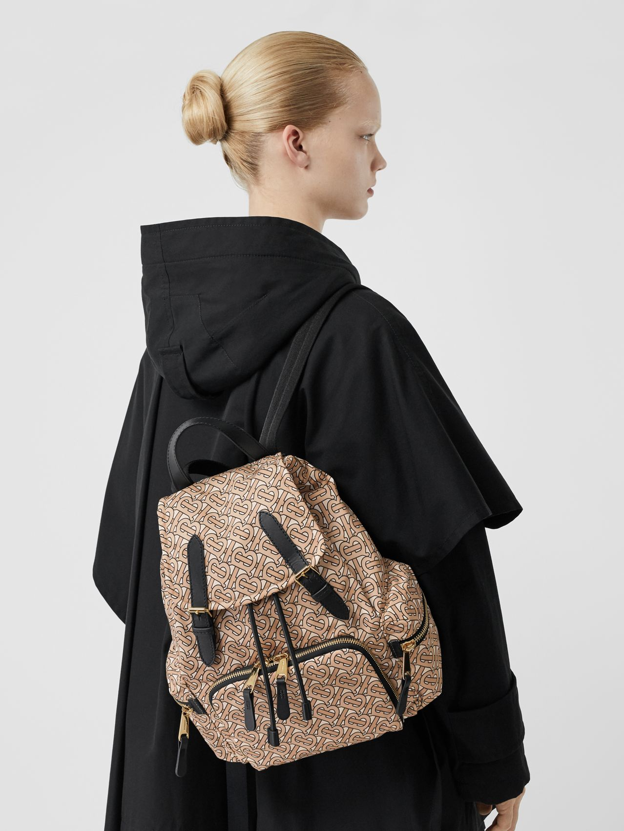 The Medium Rucksack in Monogram Print Nylon in Beige