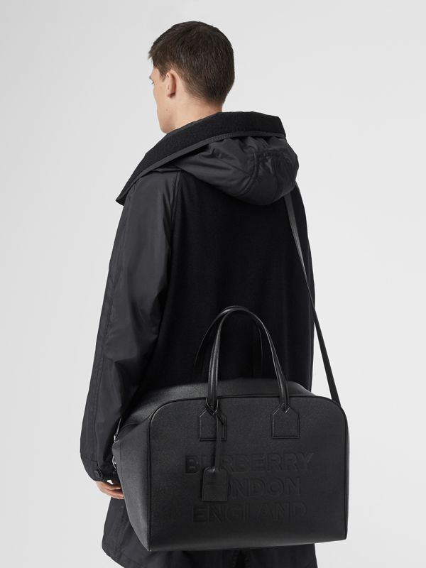 Logo Embossed Leather Holdall in Black | Burberry United Kingdom - cell image 2