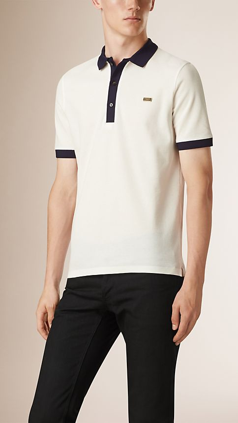 White/navy Mercerised Cotton Polo Shirt - Image 1