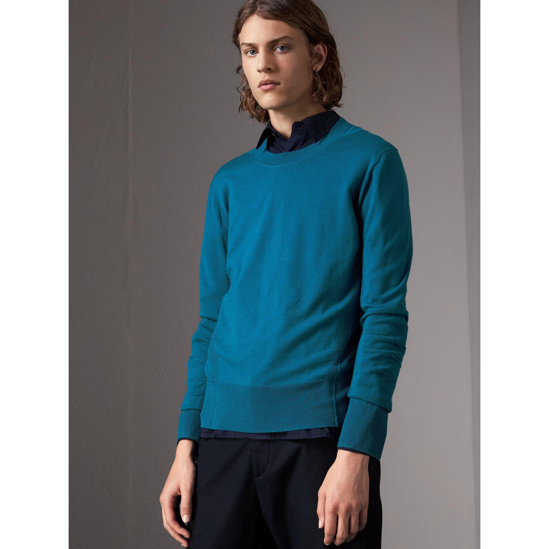 Check Detail Merino Wool Sweater in Mineral Blue - Men | Burberry - gallery image 0