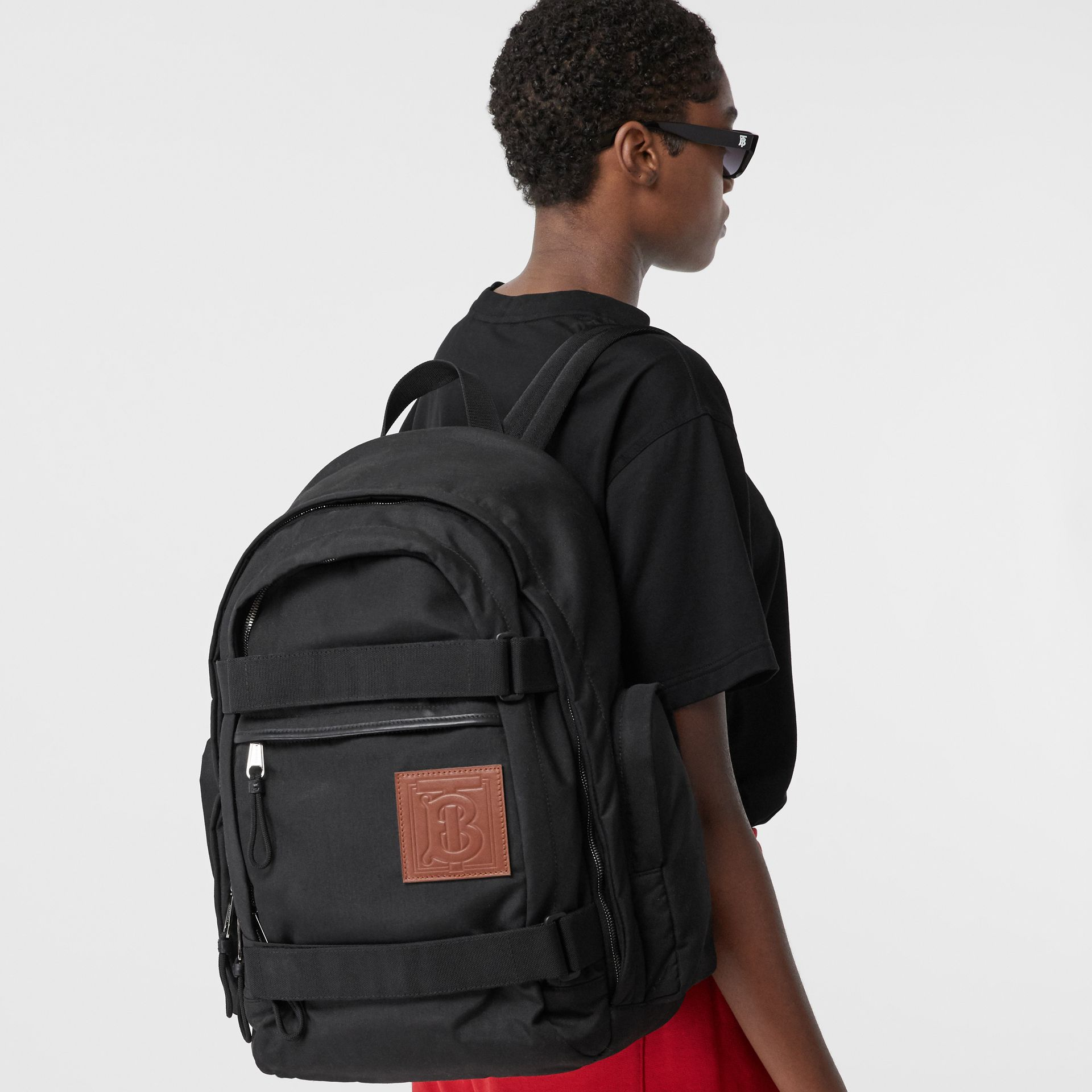 Large Monogram Motif Appliqué Nylon Nevis Backpack in Black | Burberry United Kingdom - gallery image 2