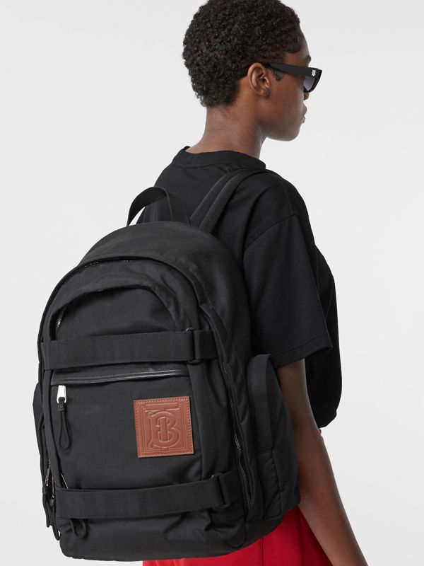 Large Monogram Motif Appliqué Nylon Nevis Backpack in Black | Burberry United Kingdom - cell image 2