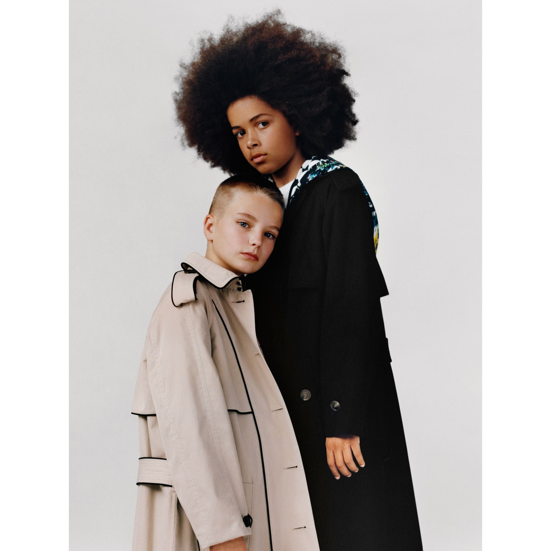 Piping Detail Tropical Gabardine Trench Coat in Black - Children | Burberry United Kingdom - gallery image 1