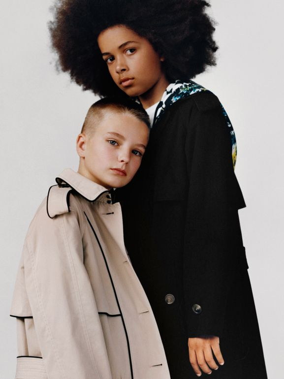 Piping Detail Tropical Gabardine Trench Coat in Black - Children | Burberry - cell image 1