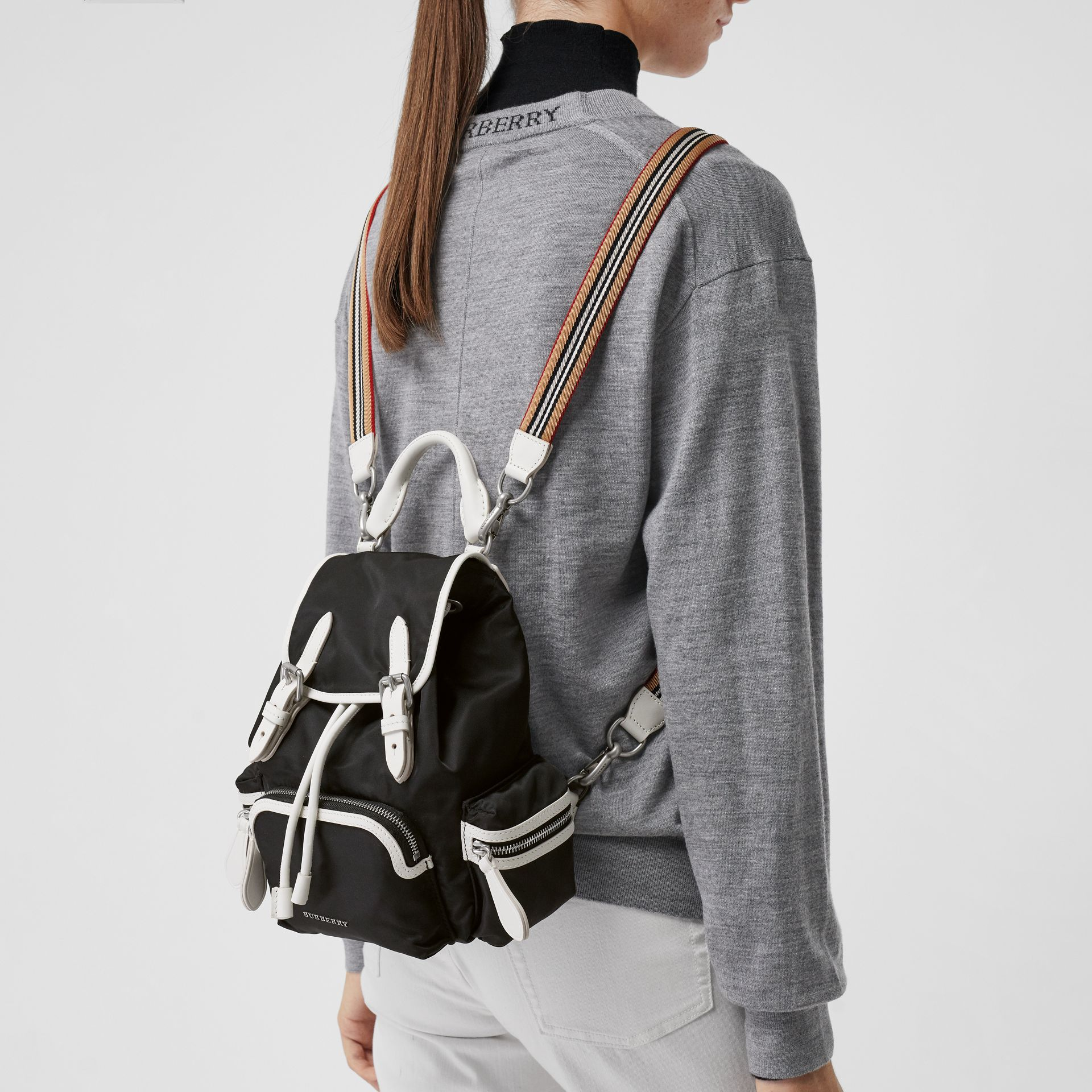 The Small Crossbody Rucksack in Nylon in Black - Women | Burberry United Kingdom - gallery image 3