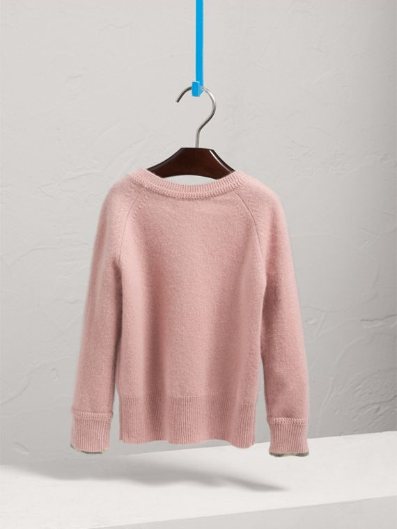Check Cuff Cashmere Sweater in Dusty Pink - Girl | Burberry - cell image 3