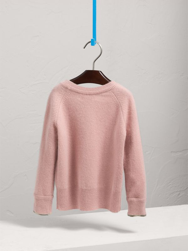 Check Cuff Cashmere Sweater in Dusty Pink | Burberry - cell image 3