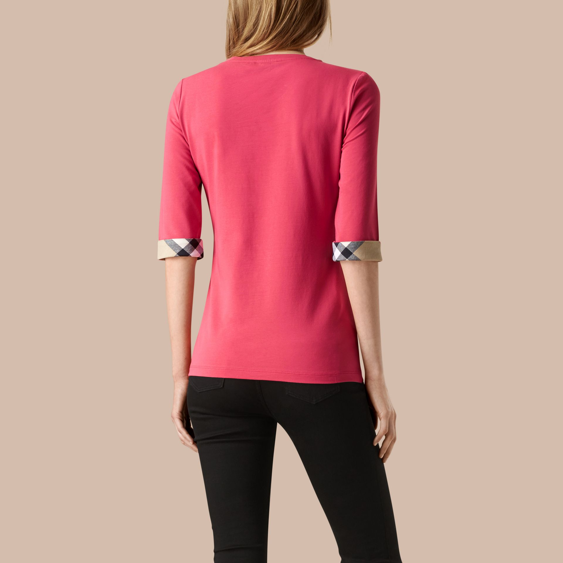 Bright rose Check Cuff Stretch-Cotton Top Bright Rose - gallery image 2
