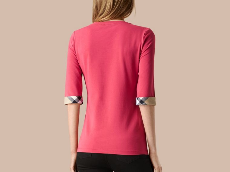Bright rose Check Cuff Stretch-Cotton Top Bright Rose - cell image 1