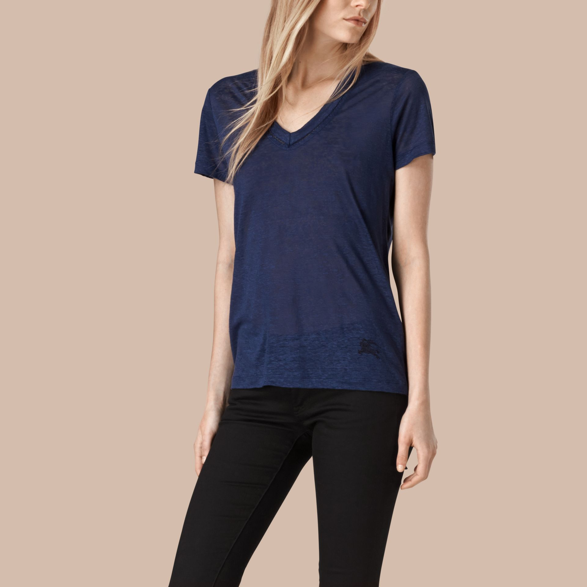 Brilliant navy V-Neck Open Stitch Detail Linen T-Shirt Brilliant Navy - gallery image 1