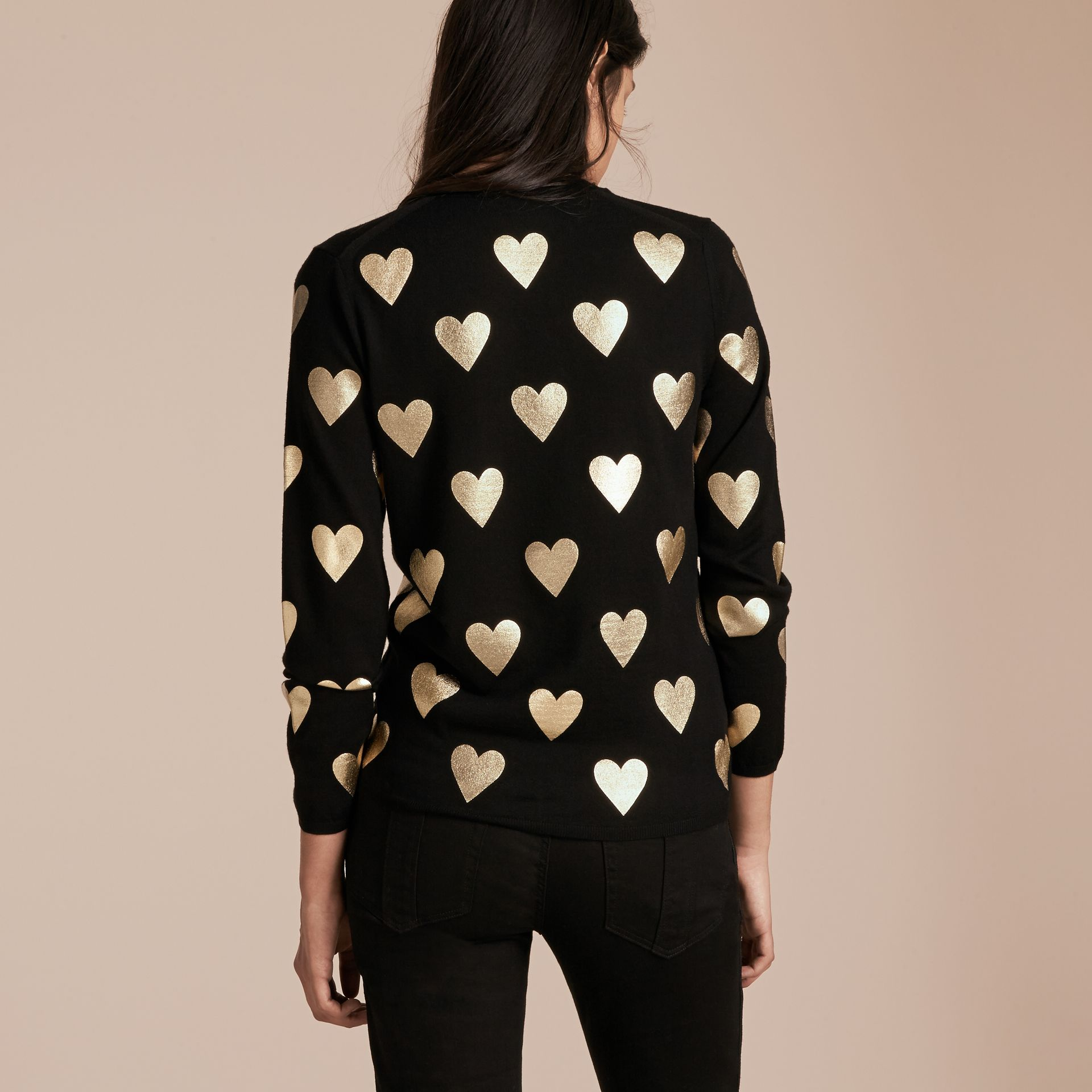Black Crew Neck Heart Print Merino Wool Sweater Black - gallery image 3