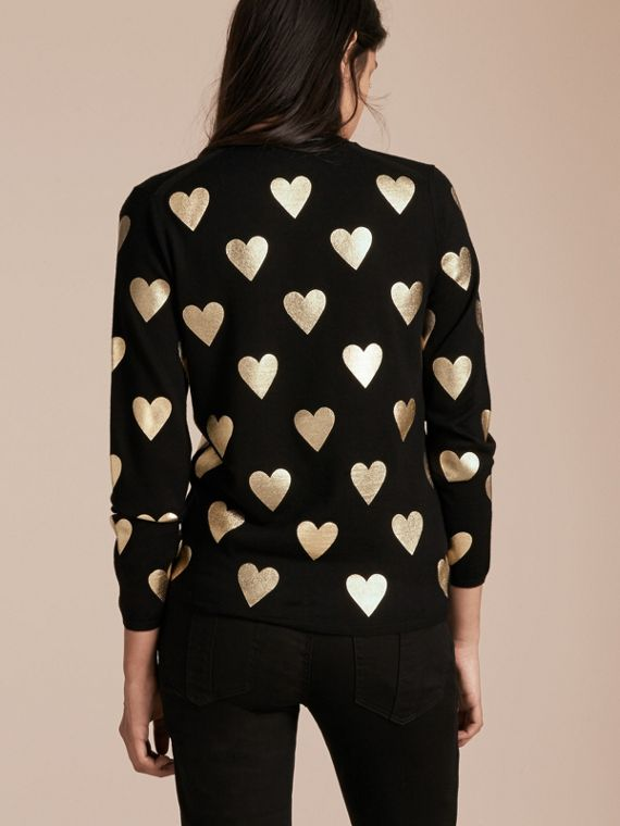 Crew Neck Heart Print Merino Wool Sweater in Black - cell image 2