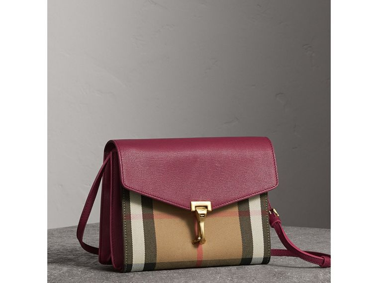 Small Leather and House Check Crossbody Bag in Berry Pink - Women | Burberry - cell image 4