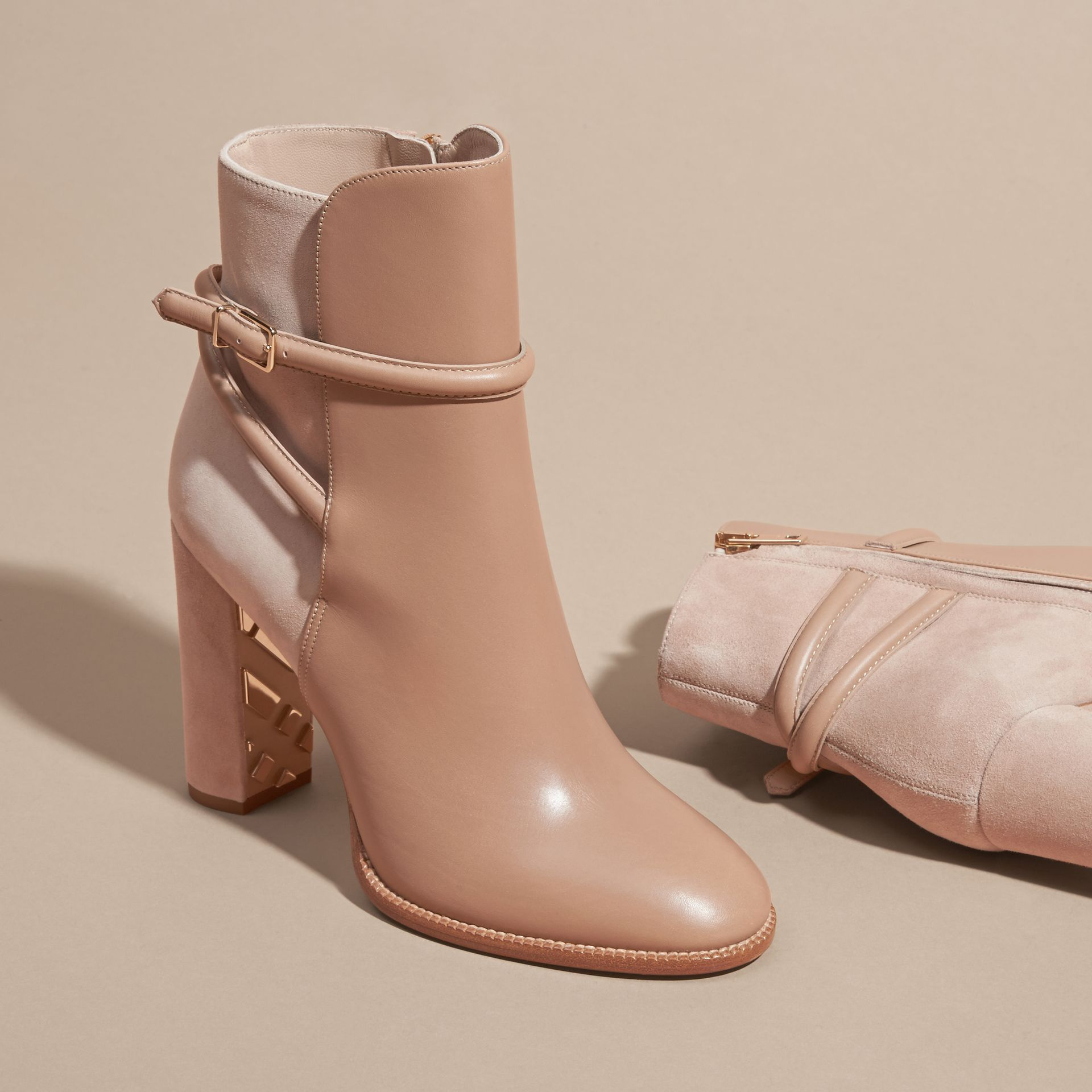Light nude Strap Detail Leather and Suede Ankle Boots Light Nude - gallery image 3