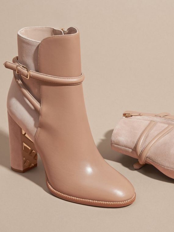 Light nude Strap Detail Leather and Suede Ankle Boots Light Nude - cell image 2