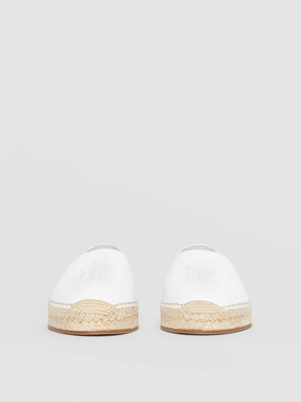 Monogram Motif Leather Espadrilles in White - Women | Burberry - cell image 3