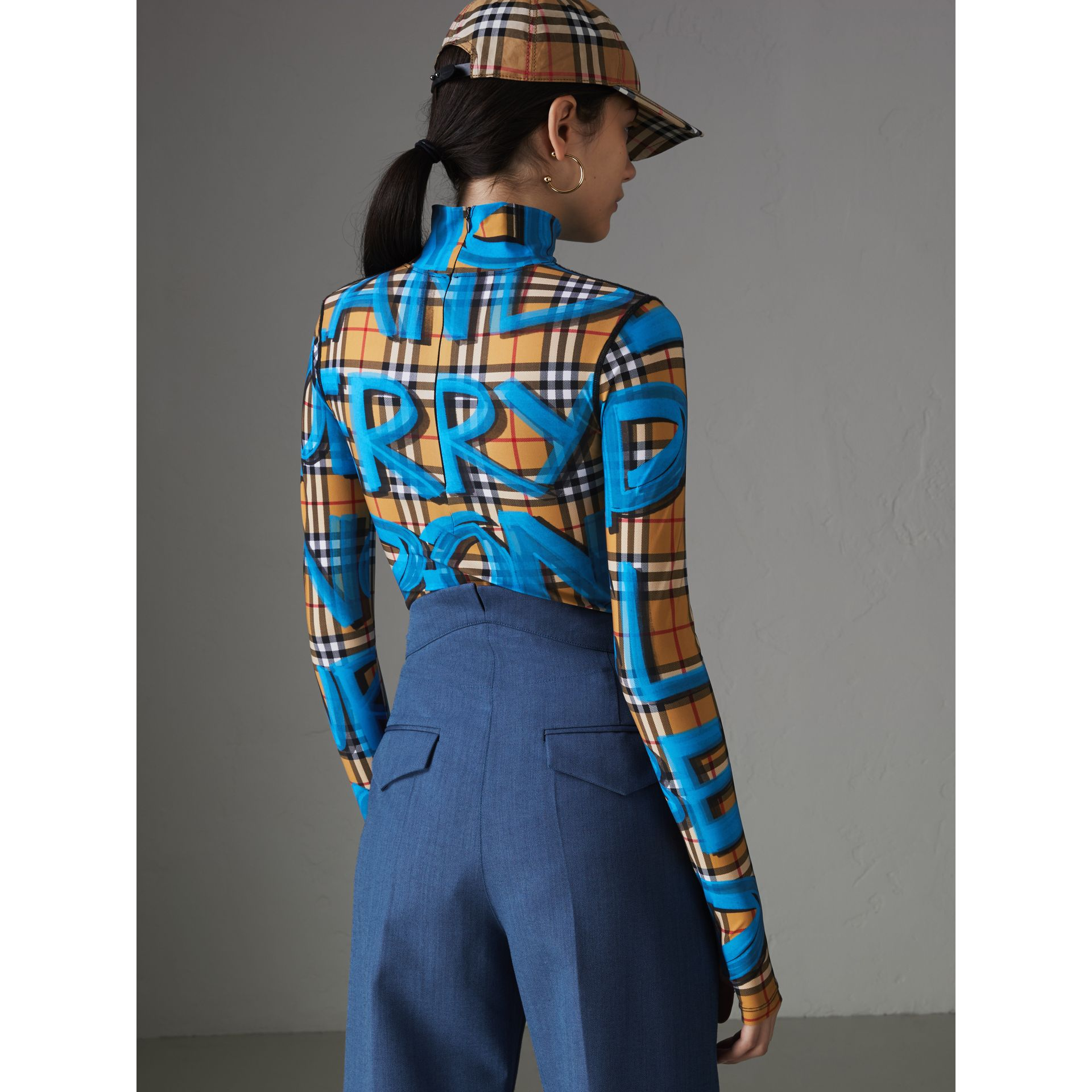 Graffiti Vintage Check Jersey Turtleneck Bodysuit in Bright Blue - Women | Burberry - gallery image 2